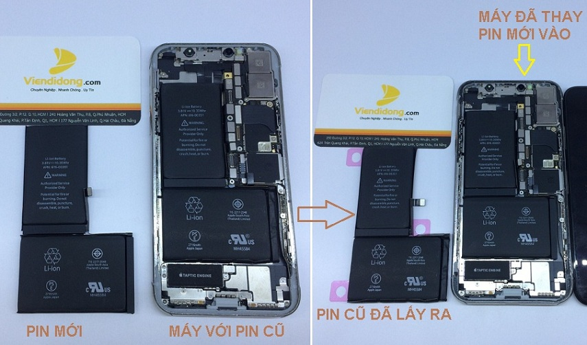 Một ca thay pin iPhone X tại Viện Di Động