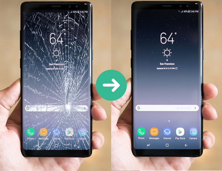 Sau khi thay mặt kính Samsung đã tốt trở lại