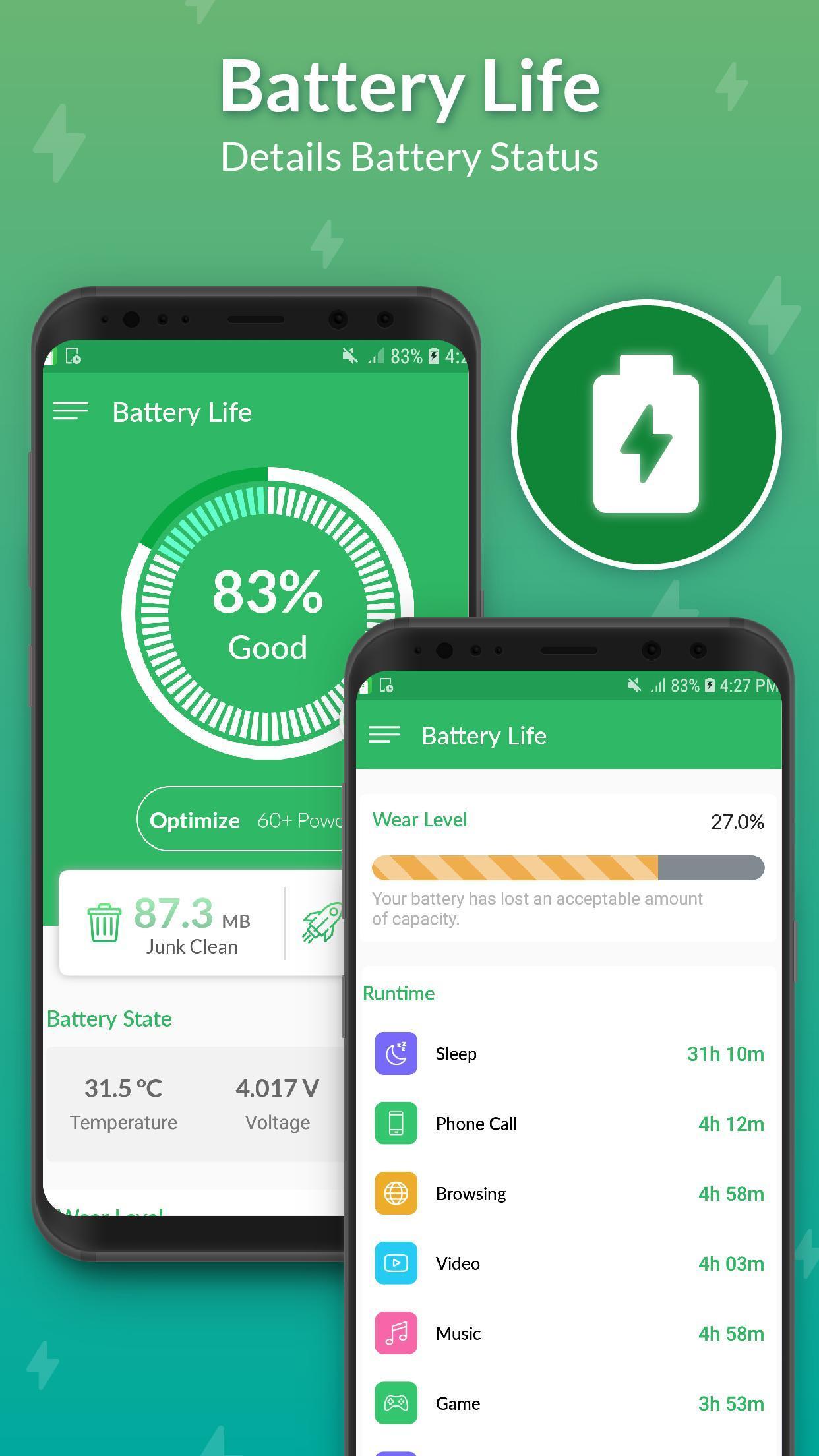 Ứng dụng kiểm tra độ chai pin:Battery Life cho Android
