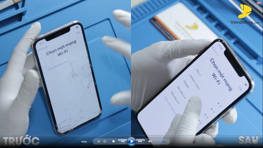 So sánh thay mặt kính iPhone X trước và sau