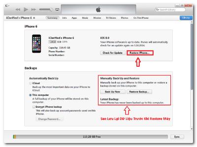 Restore là giải pháp cuối để fix lỗi màn hình iPhone 6 bị phóng to