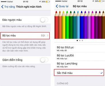 Sắc thái màu được chỉnh để hết lỗi màn hình iPhone 6 bị vàng