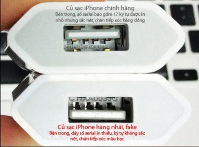 so sánh củ sạc iPhone 6 chính hãng thật và giả