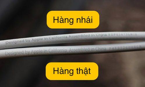 So sánh cáp sạc iPhone 6 chính hãng thật và giả
