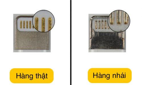 Sự khác nhau giữa thật và giả nằm ở phần đầu tiếp xúc của cáp sạc iPhone 6 chính hãng