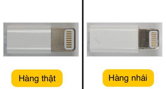 Mặt kim loại của cáp sạc iPhone 6 chính hãng thật và giả