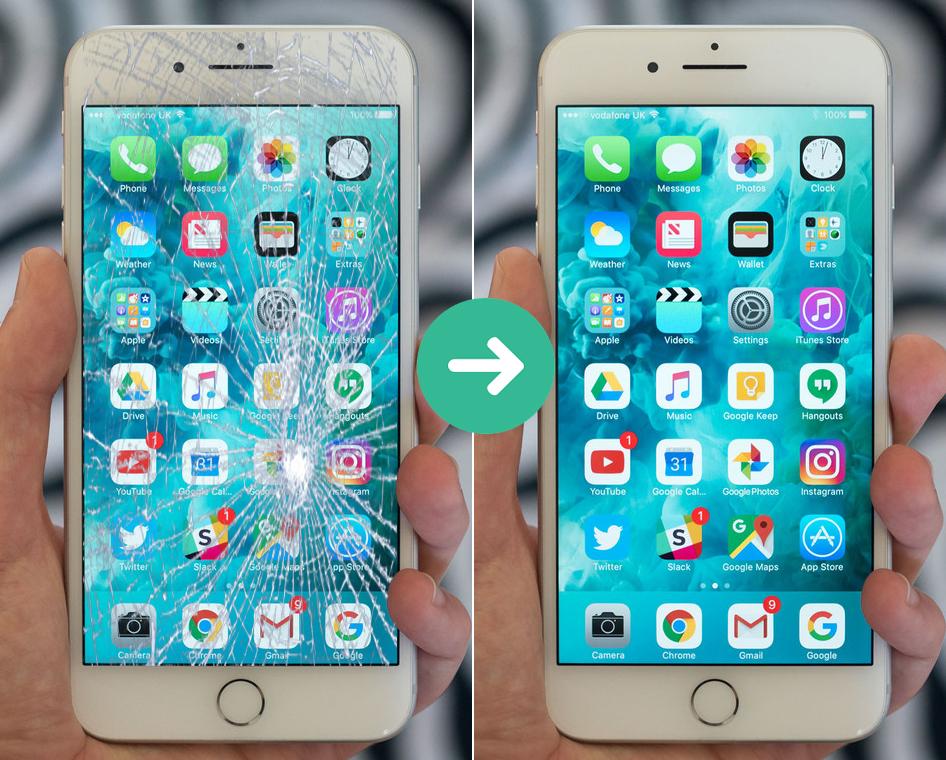 Ảnh trước và sau khi ép kính iPhone