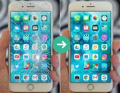 Trước và sau khi ép kính iPhone 7 chính hãng