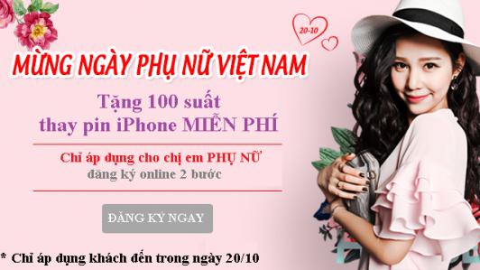 Tặng 100 suất Thay Pin iPhone MIỄN PHÍ nhân ngày 20/10 năm 2019