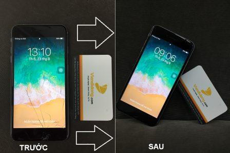 Chụp tình trạng ép kính iPhone 6S Plus trước và sau