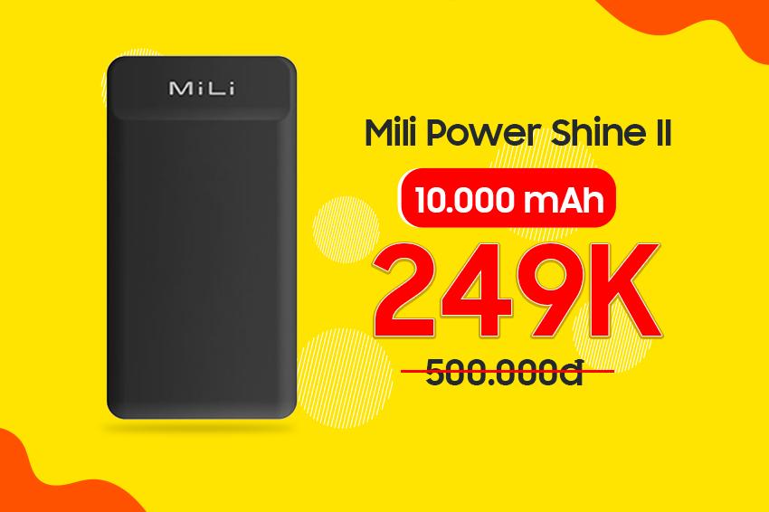 Pin dự phòng Mili Power Shine II 10.000mAh
