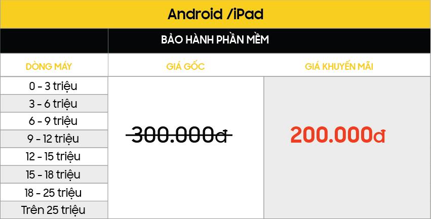 GIẢM NGAY 30% khi mua Gói bảo hành dịch vụ tại Viện Di Động bang gia Android BHPM