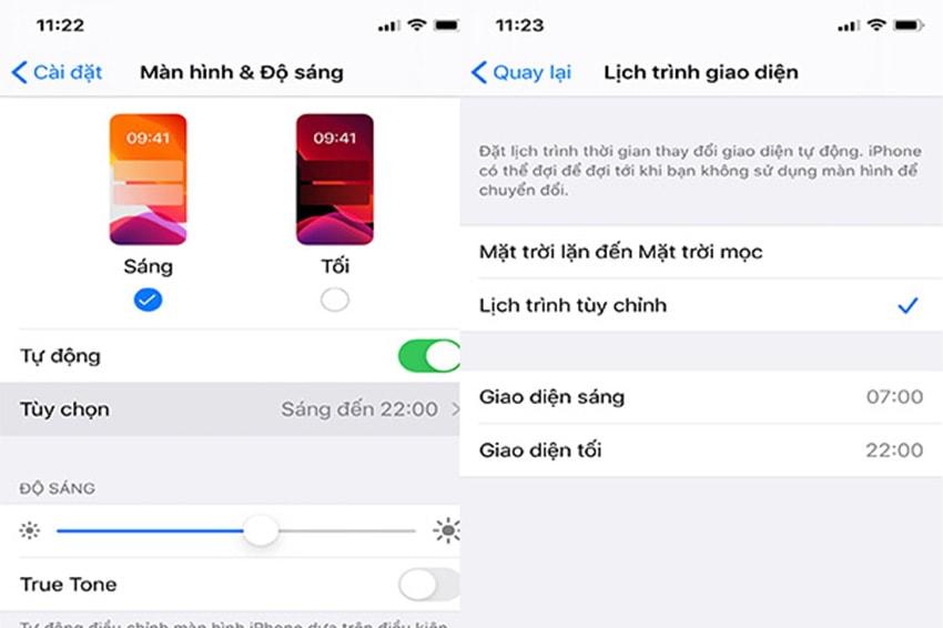 Đặt lịch Darkmode trên iPhone