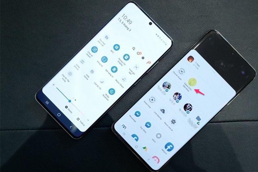 Galaxy S20 Ultra đang chia sẻ hình ảnh trên S20+