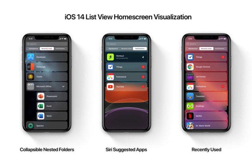 iOS 14 sẽ không hiển thị dạng lưới mà sang dạng danh sách