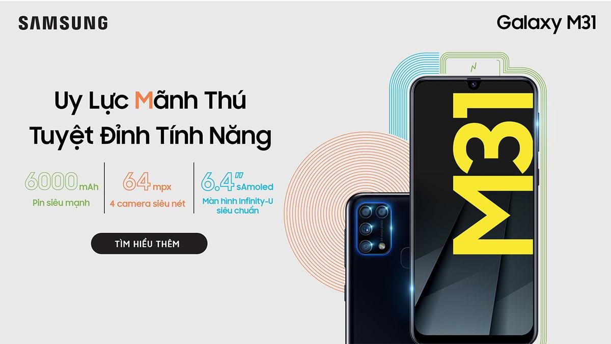 Siêu pin mãnh thú Galaxy M31 ra mắt tại Việt Nam giá chưa đến 7 triệu