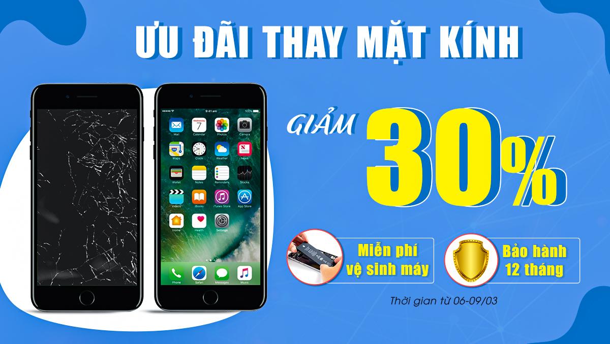 Ưu đãi hấp dẫn: Thay mặt kính iPhone, Samsung giảm giá đến 30% tại Viện Di Động mừng ngày 8/3