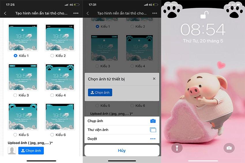 Các bước thực hiện tạo hình nền ẩn tai thỏ trên iPhone