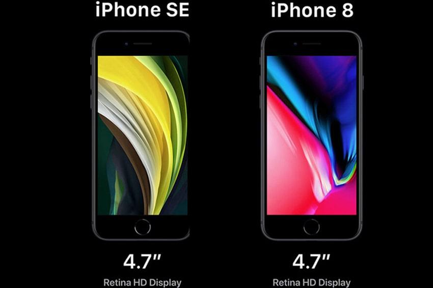 Mặt trước của SE 2020 và iPhone 8 đều được trang bị công nghệ Retina