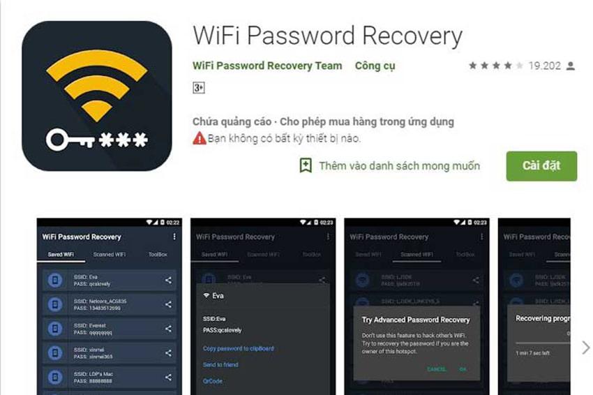 3 cách xem mật khẩu Wifi trên Android cực dễ: tải ứng dụng Wifi Password Recovery trên CH Play