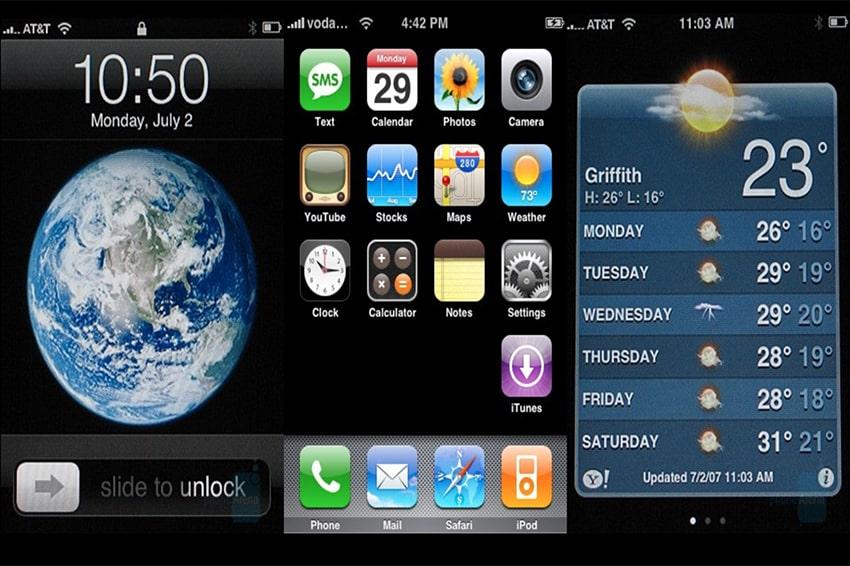 Giao diện phiên bản đầu tiên của hệ điều hành trên Apple iPhone với tên gọi là iPhone OS 1