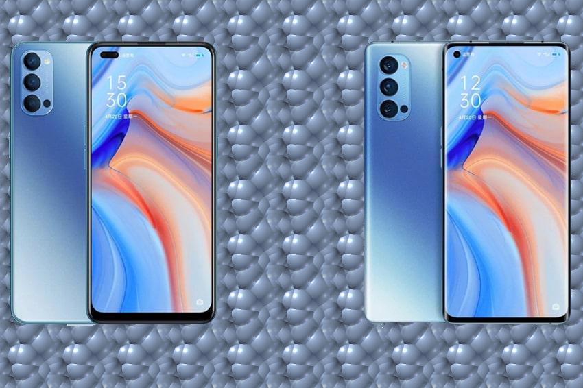 Thiết kế màn hình trên Oppo Reno 4 (bên trái) và Reno 4 Pro (bên phải)