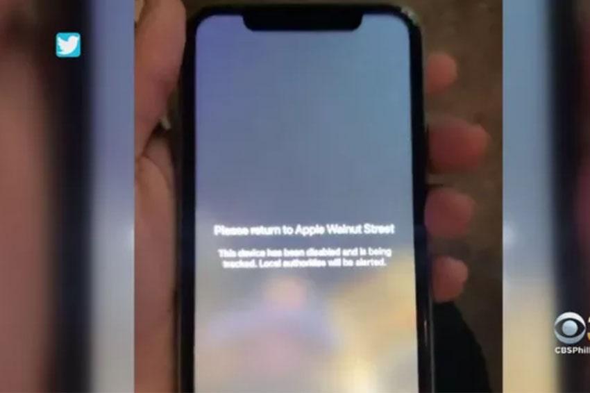Những chiếc iPhone bị đánh cắp hiện đã bị Apple khoá lại, hiện cảnh báo bắt kẻ trộm phải trả lại.