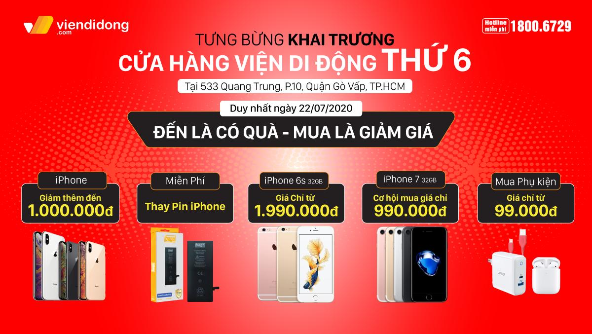 Tưng bừng khai trương cửa hàng Viện Di Động thứ 6: Cơ hội mua iPhone giảm ngay 1 triệu, sở hữu iPhone 7 chỉ với 990k, phụ kiện chỉ từ 99k