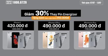 Chào tháng 7, Viện Di Động GIẢM NGAY 30% khi thay pin Energizer cho iPhone 6 – 6 Plus – 6S Plus và tặng kèm miếng dán màn hình trị giá 250k