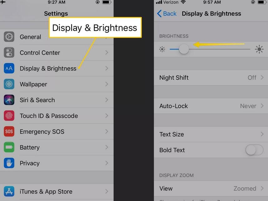 Cách tiết kiệm pin iPhone bằng việc giảm độ sáng