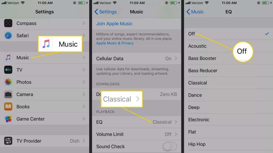 Tiết kiệm pin iPhone bằng cách tắt Equalizer