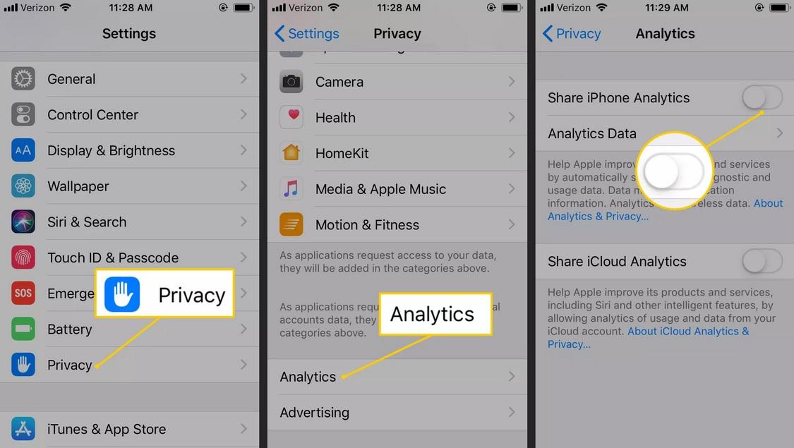 Tiết kiệm pin iPhone bằng cách không gửi dữ liệu chuẩn đoán