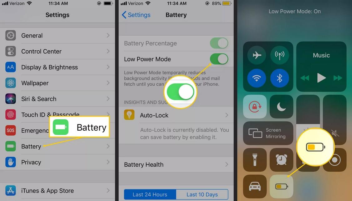 Tiết kiệm pin iPhone bằng việc sử dụng chế độ năng lượng thấp
