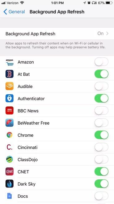 Cải thiện pin iPhone bằng cáchhạn chế làm mới app chạy nền