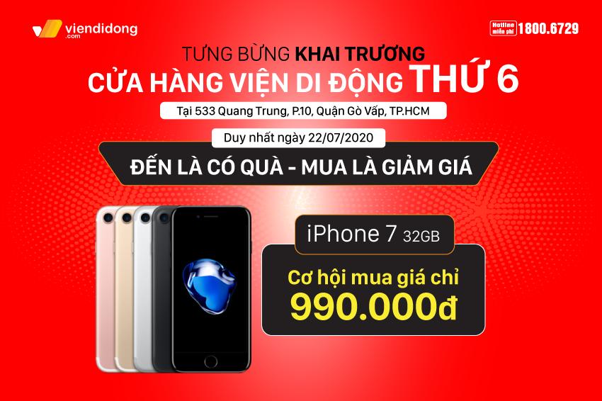 Tưng bừng khai trương cửa hàng Viện Di Động thứ 6: Cơ hội mua iPhone giảm ngay 1 triệu, sở hữu iPhone 7 chỉ với 990k, phụ kiện chỉ từ 99k 850x566 Banner khai trương 4