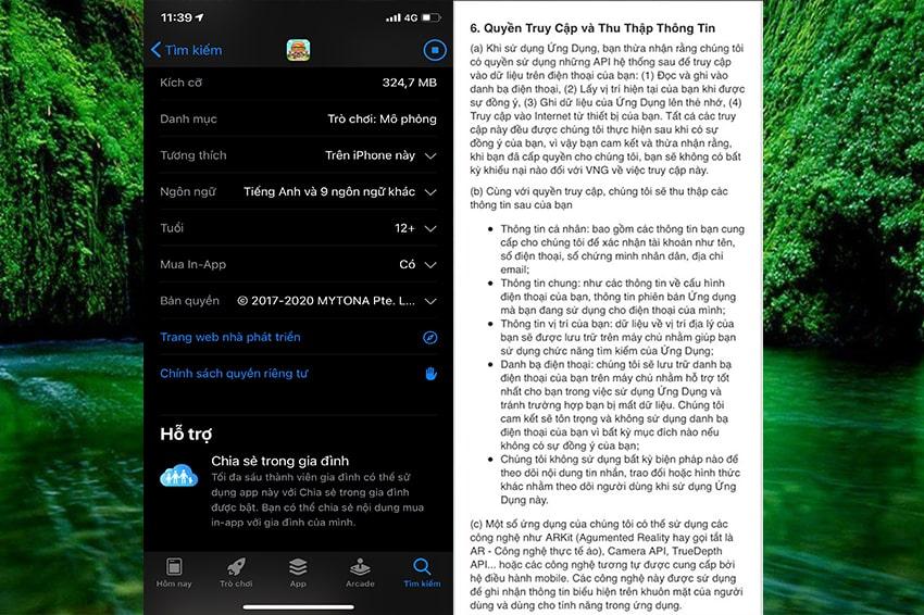 Các bước hiển thị quyền truy cập của game và ứng dụng