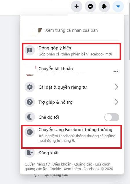 chuyển sang giao diện cũ trên facebook