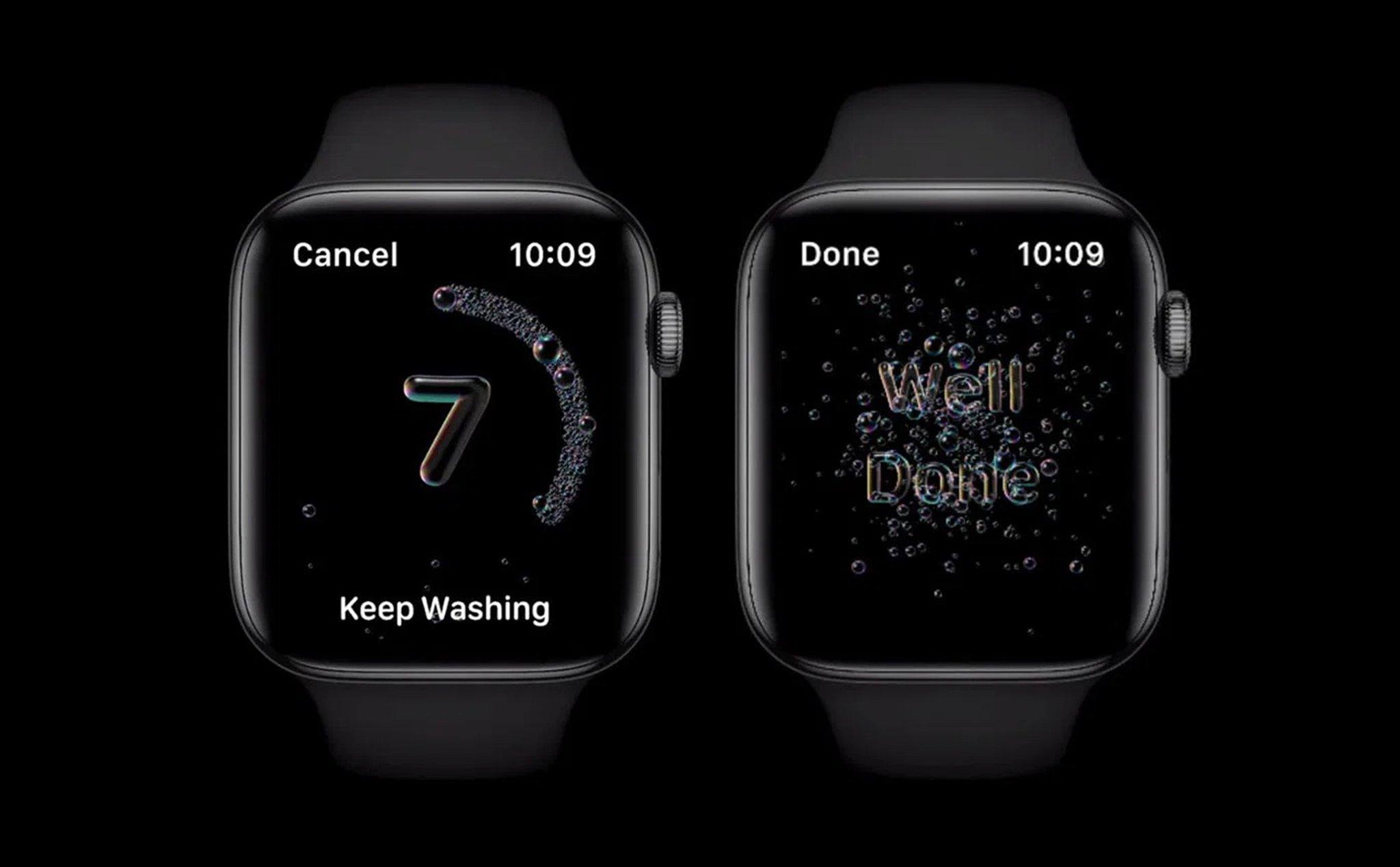 watchOS 7 Public Beta nhắc nhở rửa tay tại nhà