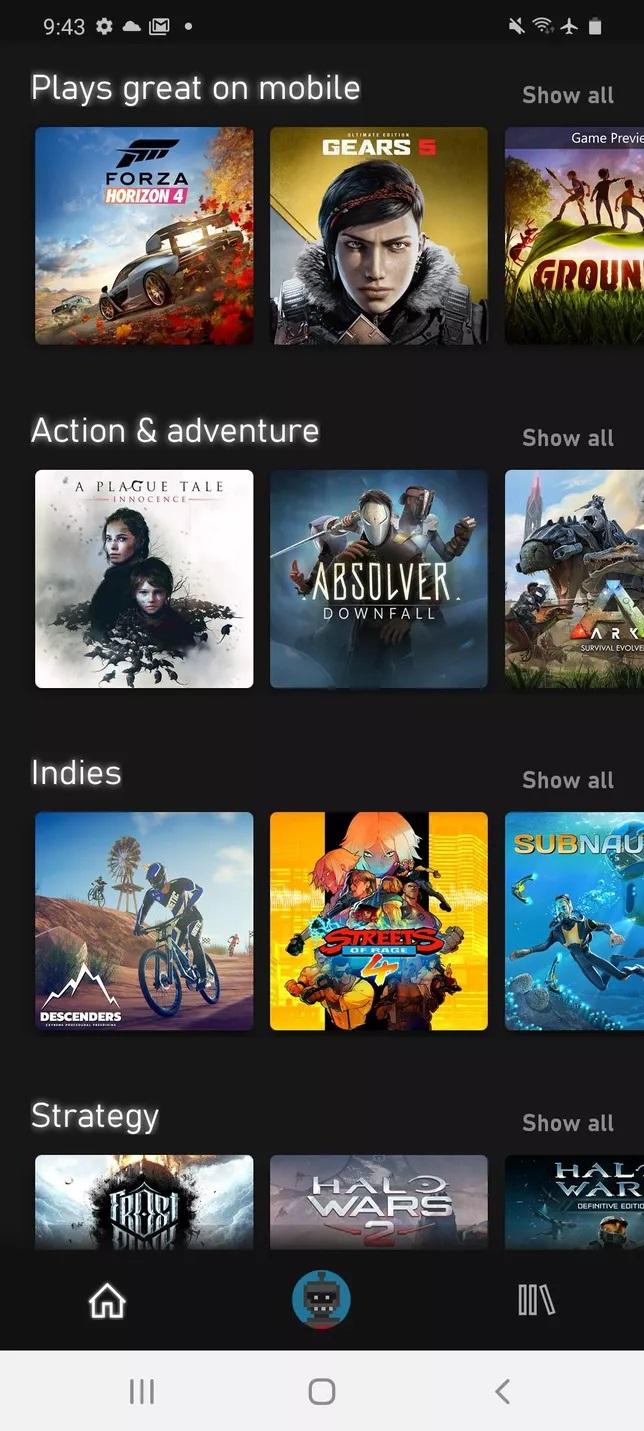 List game trên màn hình mobile