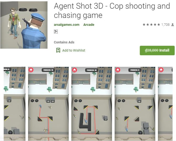 ứng dụng Android: Agent Shot 3D - Cop shooting and chasing game
