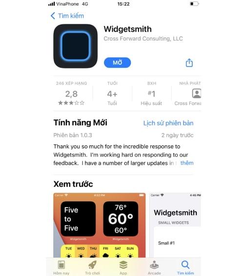 sáng tạo giao diện qua tính năng widget : Cài đặt ứng dụngWidget Smith