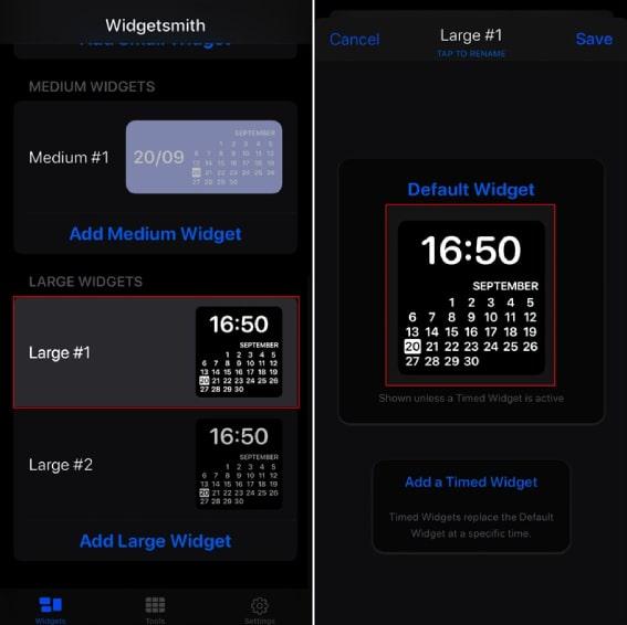 chọnkích thước widget