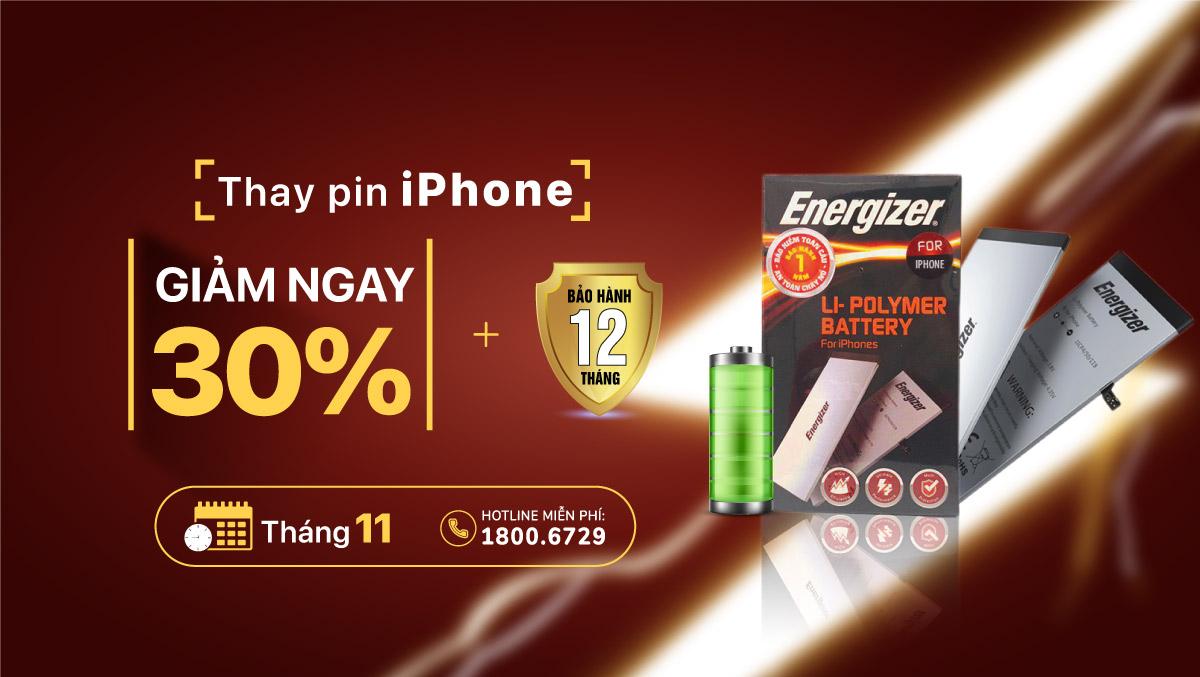 Tháng 11, giảm ngay 30% giá trị khi thay pin Energizer cho iPhone tại Viện Di Động