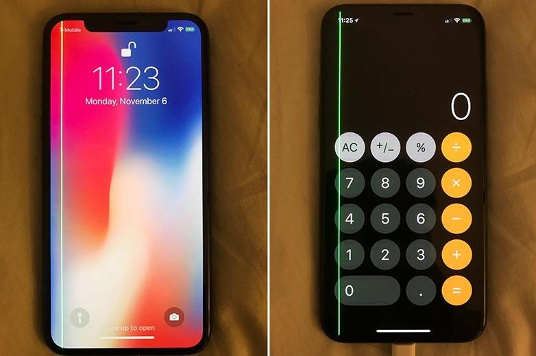 Màn hình iPhone X bị sọc xanh lá cây