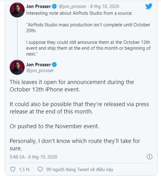 AirPods Studio có thể bị tạm hoãn ra mắt cho đến tháng 11