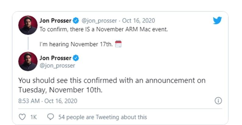 Leakster Jon Prosser báo cáo rằng sự kiện ARM Mac được lên kế hoạch vào ngày 17 tháng 11