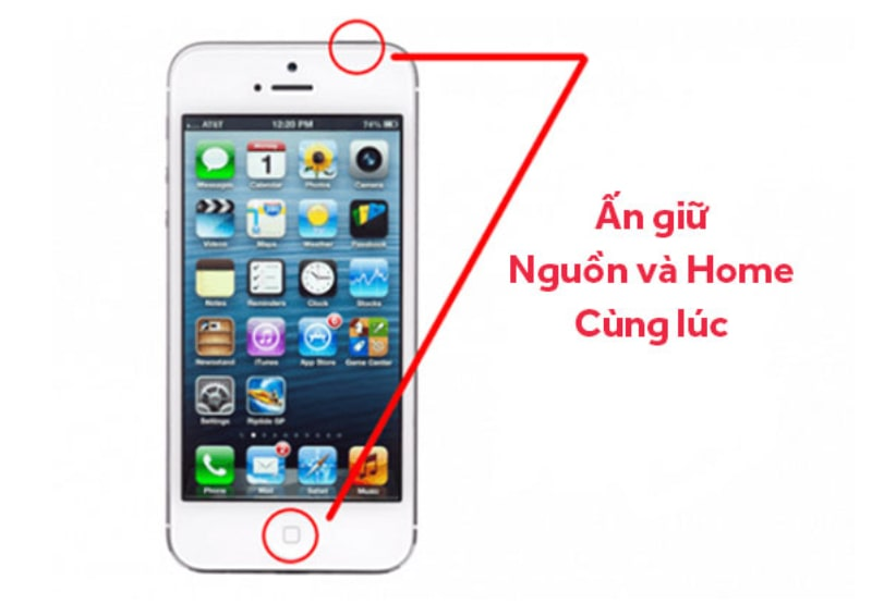 Chụp ảnh màn hình iPhone bằng nút nguồn và nút home