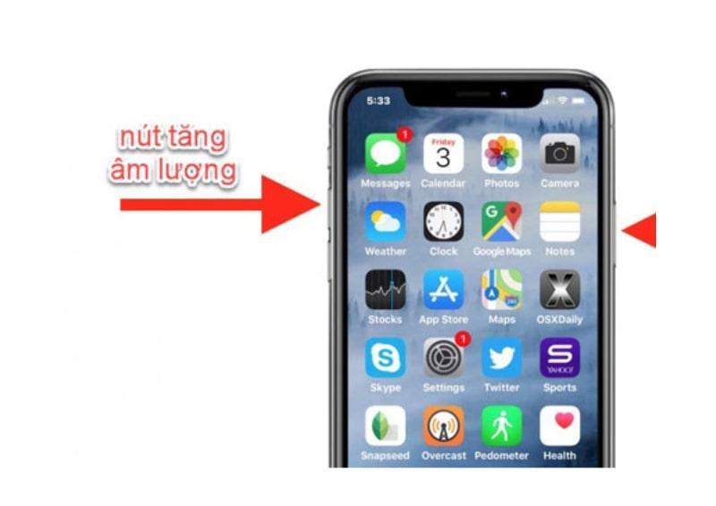 Hướng dẫn 5 cách chụp ảnh màn hình trên iPhone: Chụp ảnh màn hình iPhone bằng nút nguồn và nút tăng âm lượng