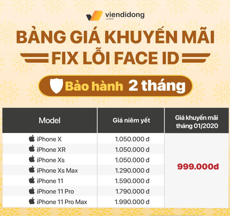 Viện Di Động ra mắt dịch vụ sửa chữa mới - Sửa lỗi Face ID cho iPhone đồng giá 999k facce id