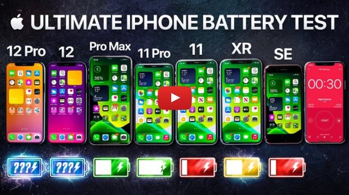 clip so sánh dung lượng pin iPhone